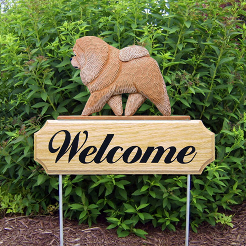 Chow Chow Wood Welcome Outdoor Sign Tan/Cinnamon