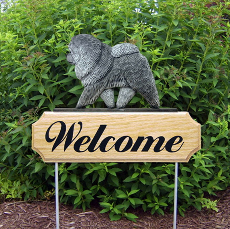 Chow Chow Wood Welcome Outdoor Sign Blue