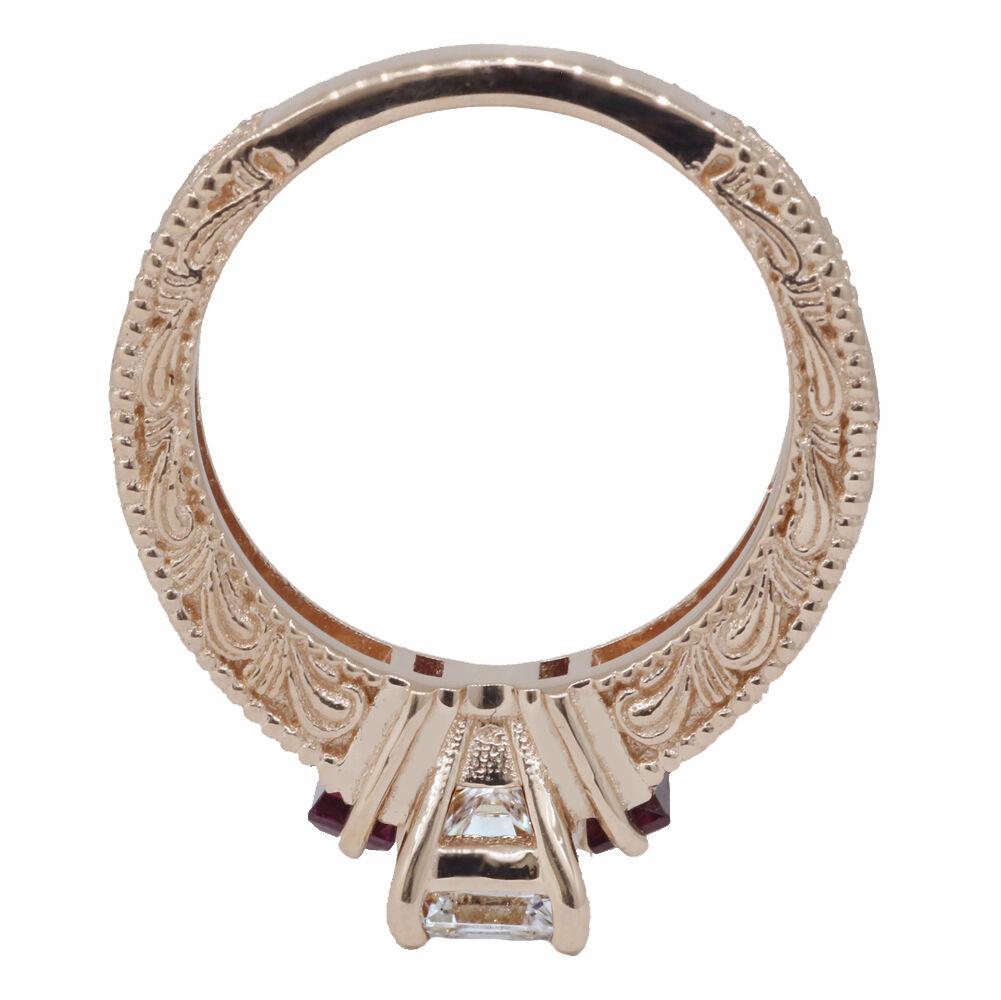 Emerald Cut GIA Diamond Engagement Ring Rose Gold 14k 2