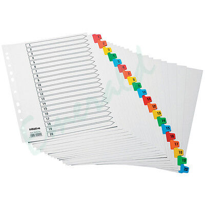 Mylar Numbered Filing 1-20 File Dividers A4 Coloured Index Tabs Fast Dispatch