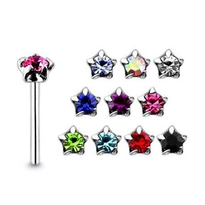 10 Pieces 22G 9mm 925 Sterling Silver 3mm Star Jeweled Nose Straight Stud Pierci