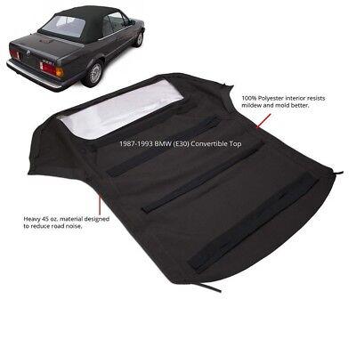 BMW 3-Series E30 Convertible Soft Top & Plastic Window 1986-1993 Black Twill (Bmw M3 E30 Window)