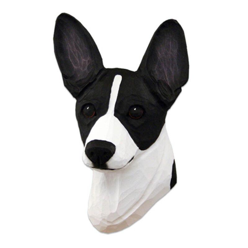 Rat Terrier Head Plaque Figurine Black/White