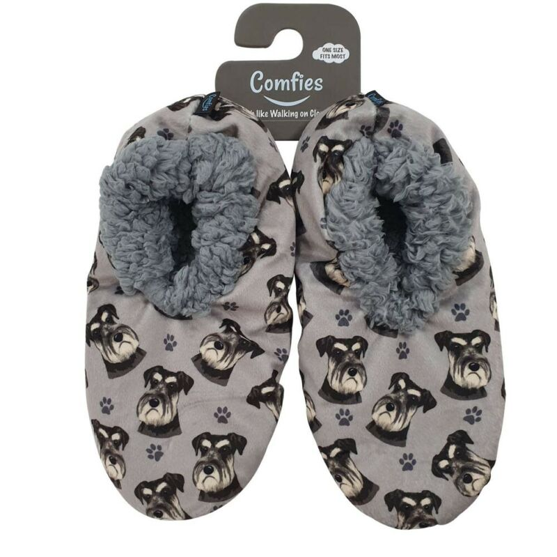 Schnauzer Slippers Uncropped - Non Slip