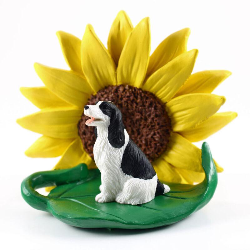 Springer Spaniel Sunflower Figurine Black