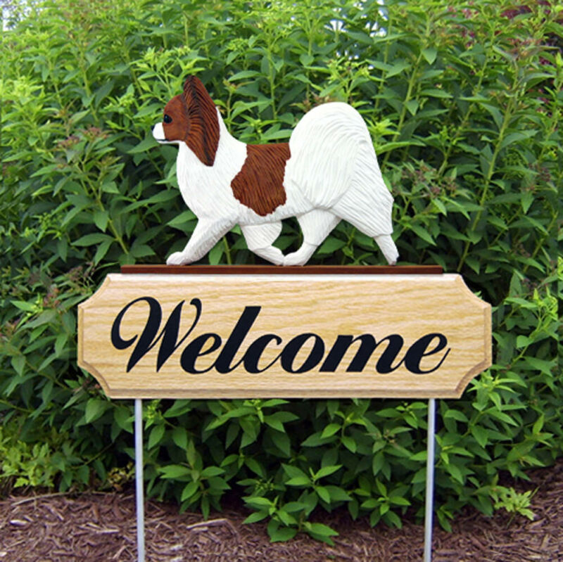 Papillon Wood Welcome Outdoor Sign Brown/White