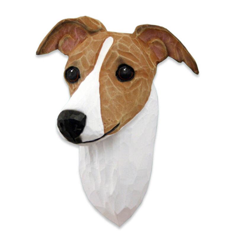 Italian Greyhound Head Plaque Figurine Fawn/White