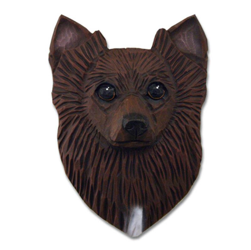 Chihuahua Head Plaque Figurine Brown Longhair