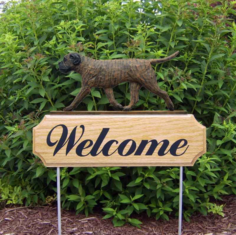 Bull Mastiff Wood Welcome Outdoor Sign Brindle
