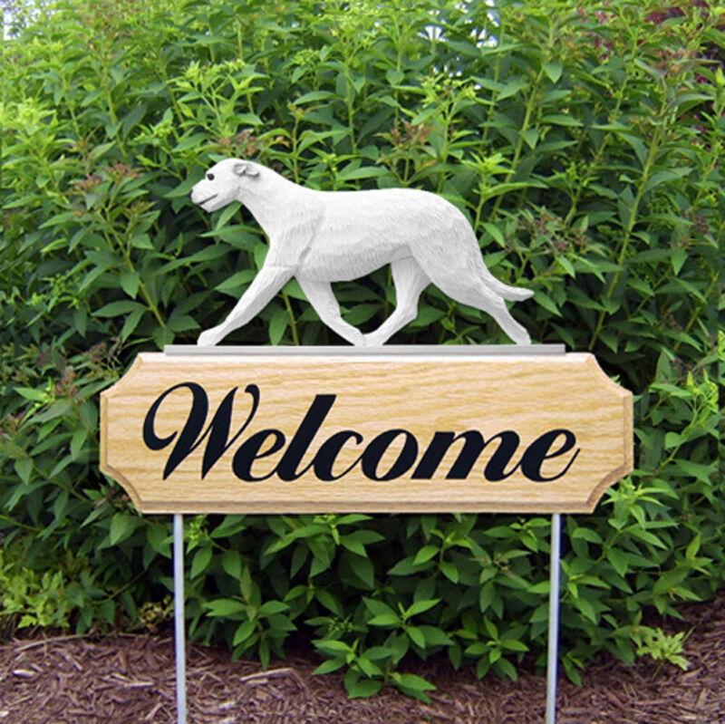 Irish Wolfhound Wood Welcome Outdoor Sign White
