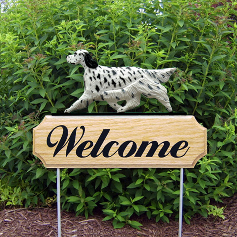 English Setter Wood Welcome Outdoor Sign Blue