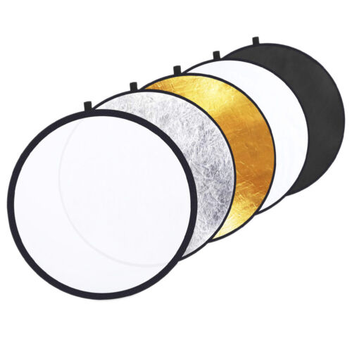 """43""""/110cm 5in1 Collapsible Round Reflector-Silver/Gold/BK/WT/Translucent+Bag"""