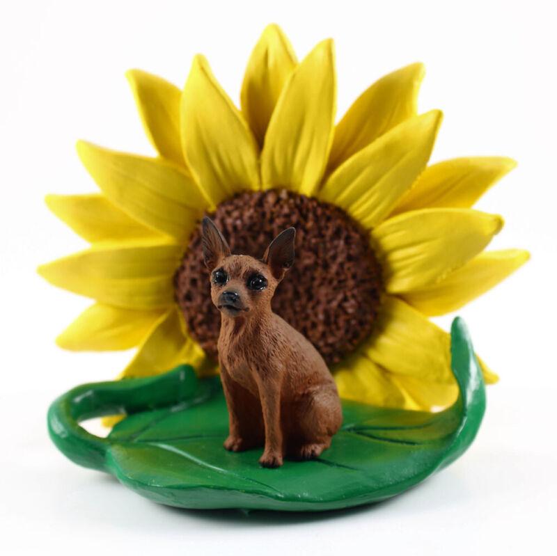 Mini Pinscher Sunflower Figurine Red