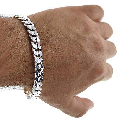 "8"" Solid Italian 925 Sterling Silver 9mm wide Curb Link Chain Bracelet Men's"