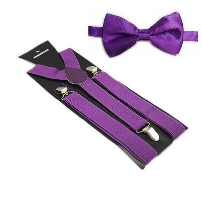 Hosenträger und Fliegen Set -Y Form 25mm 3 Clips Herren Fliege Suspender Lila