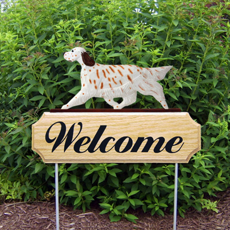 English Setter Wood Welcome Outdoor Sign Orange