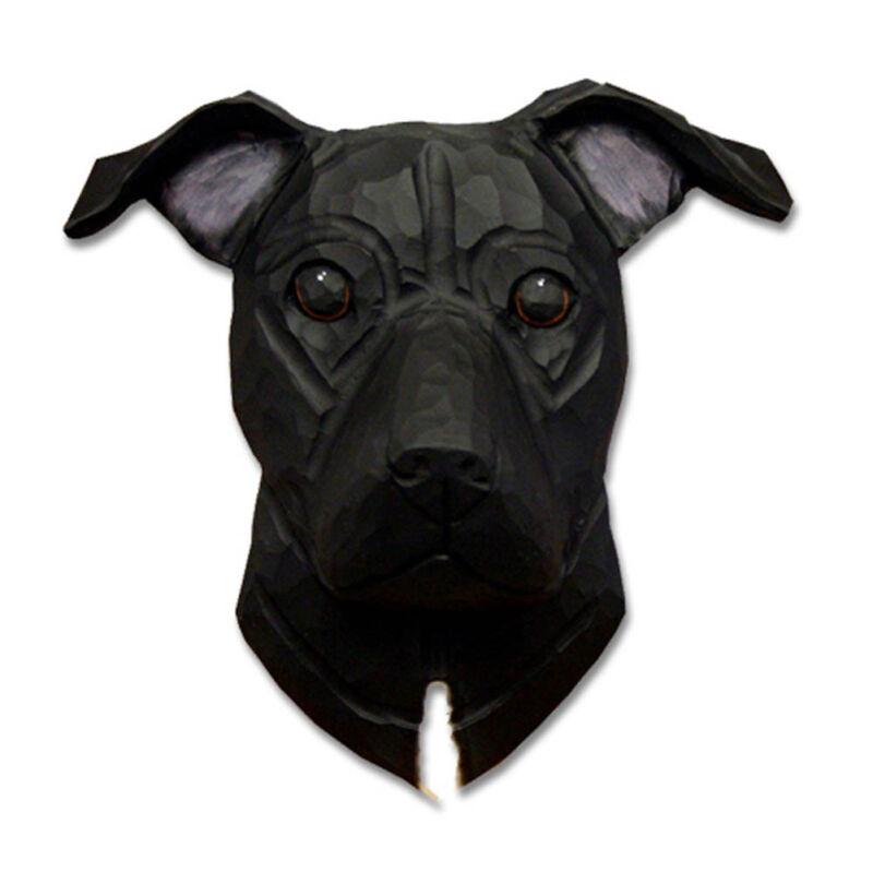Am.Staffordshire Terrier Head Plaque Figurine Black Uncropped
