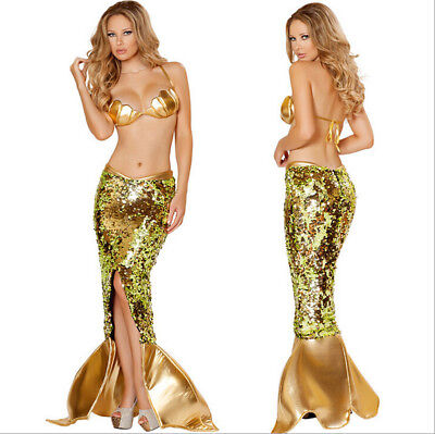 Mermaid Costume For Adult (Sexy Golden Mermaid Costume for Women Adult Halloween Fancy Party Cosplay)