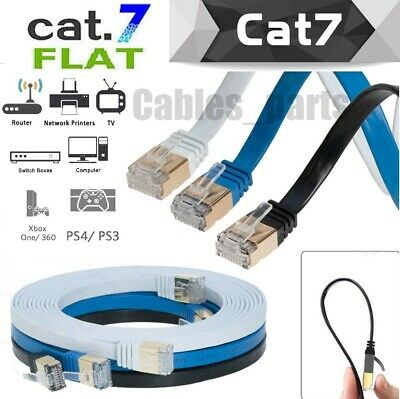 CAT7 Internet Flat Cable RJ45 Network Patch Cord Ethernet Xbox PS4 PC LAN LOT -