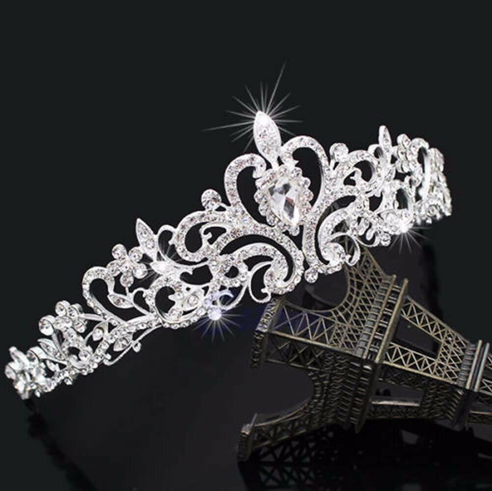 Bridal Princess Austrian Crystal Tiara Wedding Crown Veil Ha
