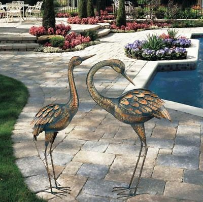 (Copper Patina Crane Metal Garden Yard Art Lawn Bird Sculpture Heron Statue      )