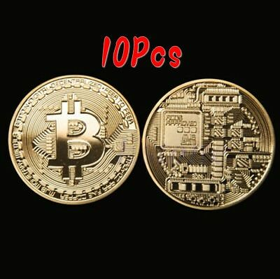 10Pcs Rare Collectible Golden Iron Bitcoin Commemorative Plated Miner Coin Gift