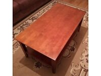 Coffee Table Dark Oak Heavy Real Hardwood - 100cm x 54cm x 43cm