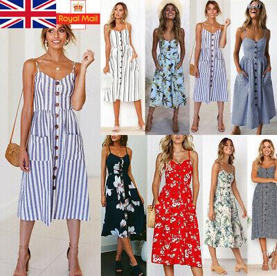 Boho Women Ladies Summer Beach Midi Dress Holiday Backless Strappy Pocket Button