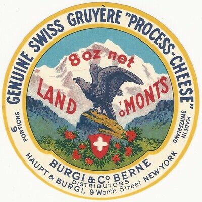 Vintage Swiss Gruyere Cheese Label -Burgi & Co. Berne Switzerland  ()