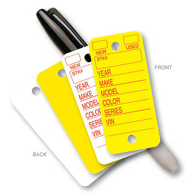 Poly Tag Rounded Corner Plastic Car Key Tags - White Or Yellow 250 Per Box