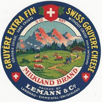 Vintage Swiss Gruyere Extra Fin Cheese Label ()