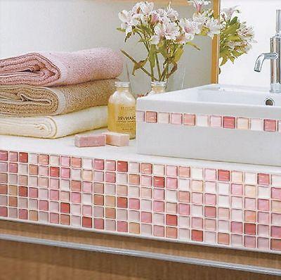 Home Bathroom Kitchen Wall Decor Stickers Peel and Stick Tile N Red Backsplash
