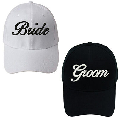 Bride and Groom Caps Hats Adjustable one size Black and White baseball caps