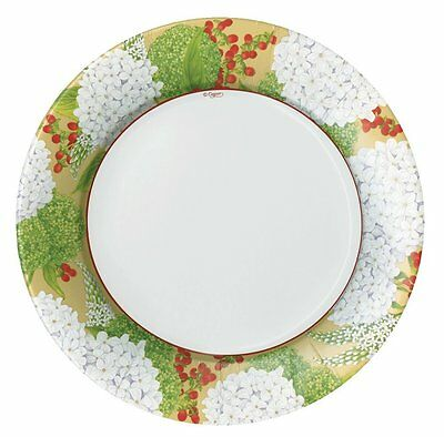 CASPARI 8 PK SNOWBALL HYDRANGEAS GOLD RIM  PAPER DINNER PLATES HOLIDAY CHRISTMAS ()