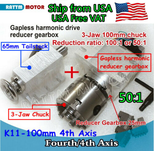 〖USA〗 K11-100mm Rotary the fourth 4th Axis Gapless Harmonic Reducer 3 Jaw Chuck