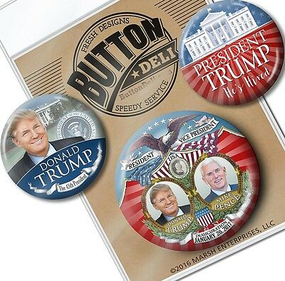 "3-Pack VICTORY President Donald Trump BUTTONS 2.25"" & 3"" Pinback Badges pins"