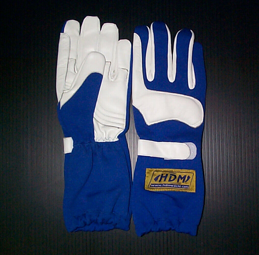 Go Kart Racing Leather Racing Driving Gloves Blue Adult SMALL