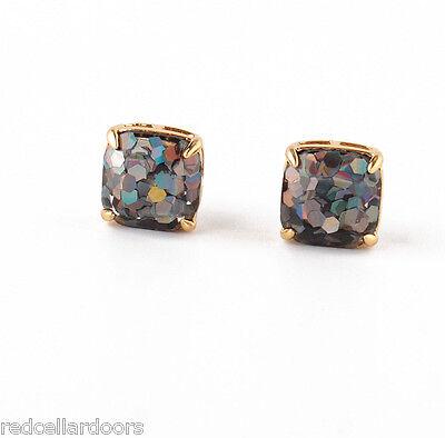 Auth New KATE SPADE MINI Hologram Hexagon Glitter Stud Earrings & Dust Cover