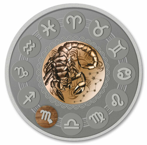 SCORPIO ZODIAC SIGNS - 2019 1 oz Pure Silver Antiqued Coin with Wood Insert NIUE