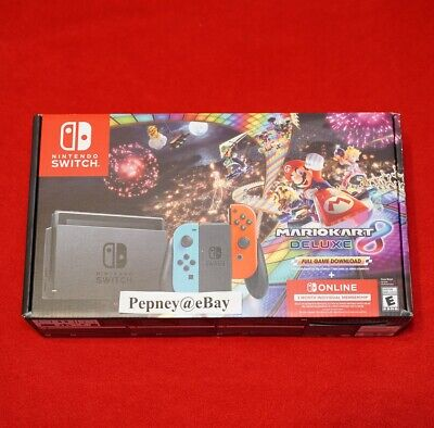 Nintendo Switch Mario Kart 8 Deluxe Bundle Red/Blue 32GB + 3 Months Brand New