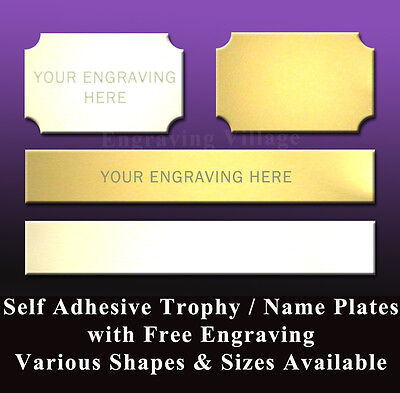 TROPHY ENGRAVING PLATES / METAL NAME PLAQUES  - ENGRAVED FREE - VARIOUS TYPES
