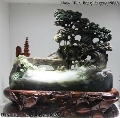 "Chinese Natural Dushan Jade "" Sail With The Wind "" Pine Tree Rivers Sculpture"