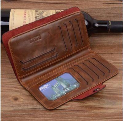 Retro Id Credit Card - Fashion Men's Retro Long Wallet ID Credit Card Holder Leather Purse Money Clip