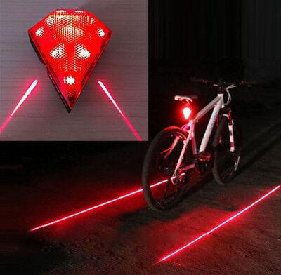 2 Laser Flashing Lamp Light+8 LED Diamond Bicycle Bike Rear Tail Safety Warning