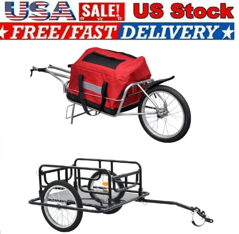 2-in-1 Bicycle Cycle Cargo Trailer w/ Storage Bag Single/Two Wheel Shopping Cart