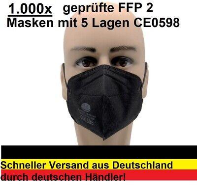 1000x FFP2 Maske Schwarz CE 0598 zertifiziert schneller Versand aus Deutschland