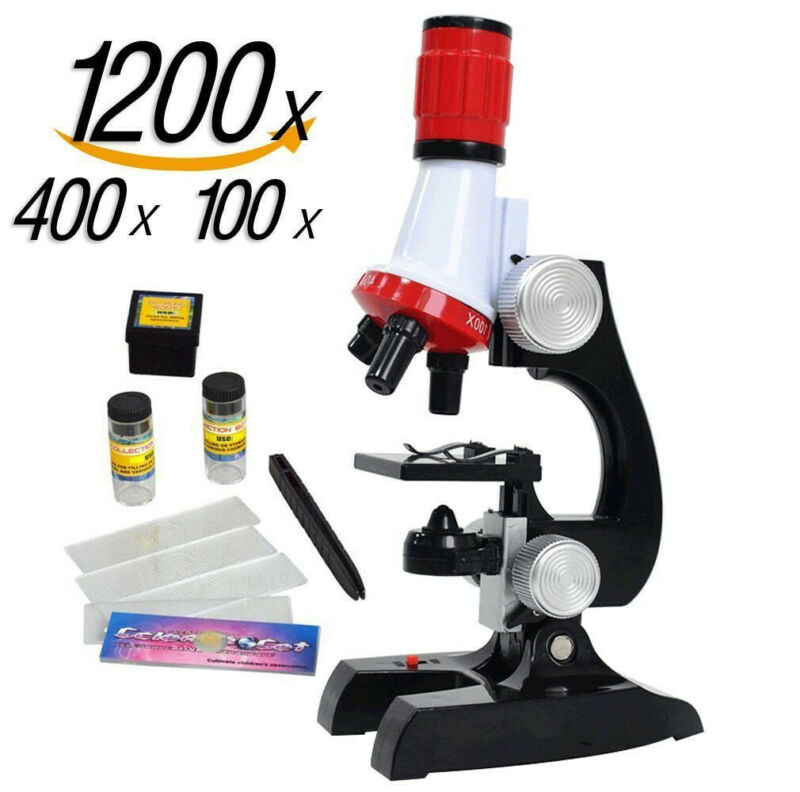 100/400/1200x Educational Biology Science Microscope LAB  Magnifier For Children