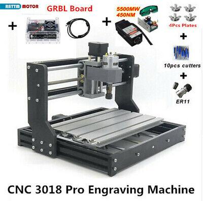 Cnc 3018 Pro Engraving Machine Mini Diy Wood Router Grbl Control W 5500mw Laser