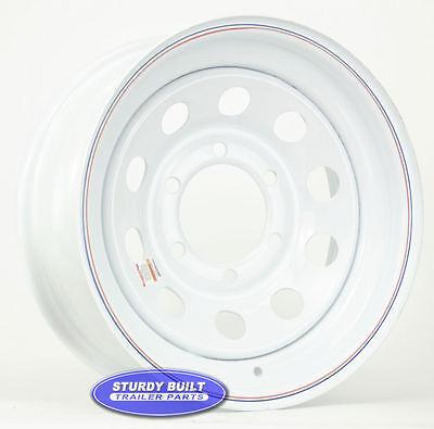 "Utility Trailer Parts 15"" White Mod Wheel 6 Bolt Lug on 5 1/2 Bolt Circle Rim"