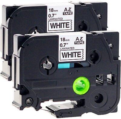 2x Schriftbandkassette kompatibel für Brother TZe-241 18mm schwarz auf weiß
